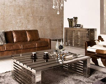 Magnificent Timothy Oulton Zazenne Steel Coffee Table
