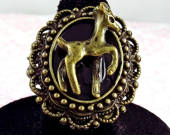 Bronze Deer Ring kawaii lolita cabochon jewelry