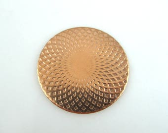Enameling Supplies, Mandala, Copper Enameling Supplies, Textured Copper Disc 38MM, JA-JAED-001