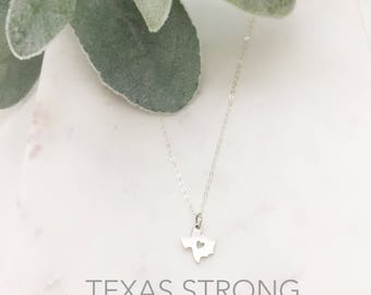 TEXAS Necklace | Texas State Necklace Silver | Sterling Silver Texas Necklace | Texas Heart Necklace