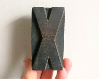 "Letterpress Wood Type X - 3"" Tall 7.5 cm/ Antique Letterpress Wood Printer's Block HAND CARVED wabi sabi"
