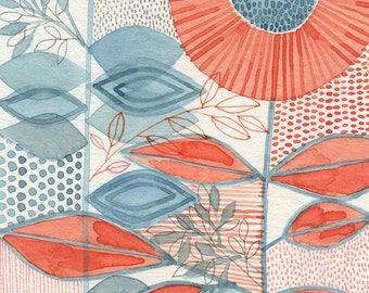 No.2, ORIGINAL watercolour, abstract floral, botanical, art, wall art, home decor