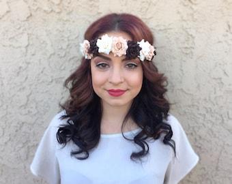 Rose Headband - Flower Headband - Brown Tan Cream Roses - Festivals - Raves - Parties - Bohemian