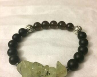 Prehenite, Black Onyx, and Smoky Quartz Gemstone Bracelet - Energy Bracelet - Healing Bracelet - Calming Bracelet - Boho Chic