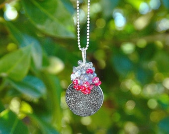 Charocal Druzy Cluster Pendant / Labradorite Necklace / Magenta Quartz / Sterling Silver / Wire Wrapped / Gray / Pink / Gifts for Her