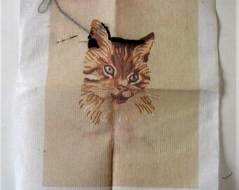 "Vintage 70's unfinished cat Needlepoint canvas, Erica Wilson, 11"" x 14"", Columbia Minerva, picture kit, Throw pillow, brown kitty, gift idea"