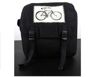Army Canvas School Book Bag Backpack with Vintage Bicycle Patch