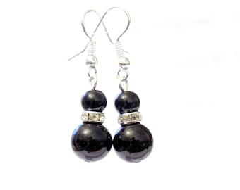 Black pearl earrings, black pearl earrings, pearl earrings, earrings, dangle earrings, drop earrings