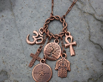 Coexist charm etsy ancient religions coexist antiqued copper charm cluster necklace om hamsa hand tree of life cross ankh labyrinth free ship usa aloadofball Images