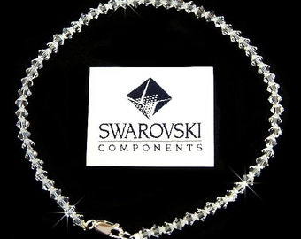 Simple Everyday Swarovski Clear Crystal .925 Sterling Silver Anklet Bridal Wedding Prom Party Christmas Best friend Gift New Handmade Cute