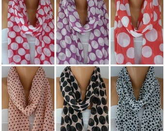 Mother's day gift,Polka Dot Chiffon Festival Scarf,Cowl Scarf,Birthday Gift,Bohemian,Gift For Her Fashion Accessories best selling item