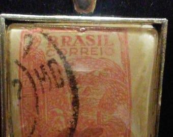 Brazil Brasil Vintage Postage Stamp Necklace - 1947