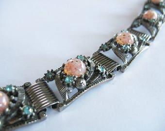 Vintage Link Bracelet, Victorian Revival, Confetti Glass, Rhinestone, Book Chain, Pink, Blue, Silvertone, 1950's, Link Bracelet,