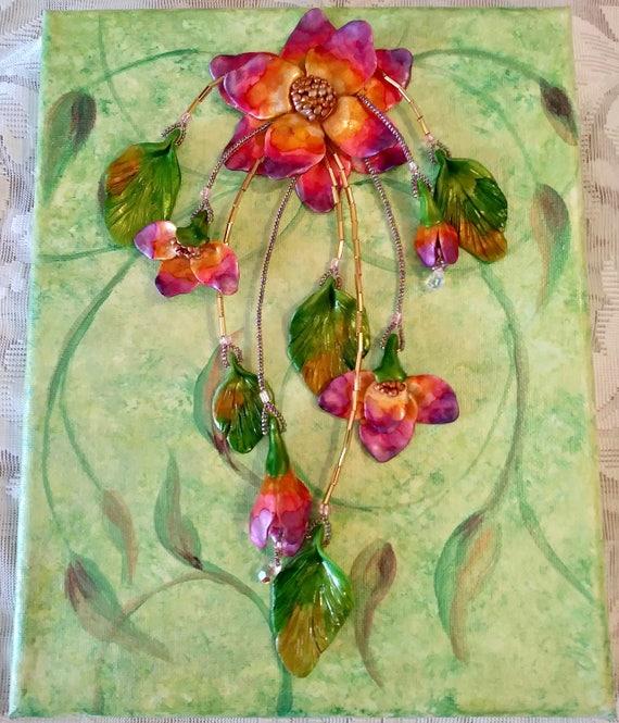 Mixed Media Wall Art 3D Wall Art Wall Art Sculpture Floral