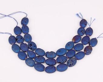 11pcs/str,13x18mm,Dark Blue Titanium Druzy Geode Flat Oval Shaped Beads Cabochon,Raw Drusy Agate Stone Slabs Beads for Bracelet Pendant