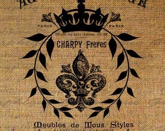 French Paris Fleur De Lis Crown Laurel Frame Writing Ad Digital Image Download Transfer For Pillows Totes Tea Towels Burlap No. 2578