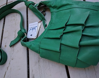 Sarah - a Recycled Soft Leather Messenger Bag in Teal Green Leather with Ruffles, Pocket, Zipper and Adjustable Strap