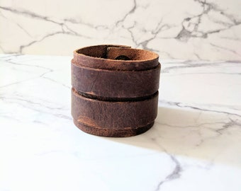 Genuine Double Leather Cuff- a gift for mom