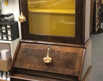"Antique Italian Burl Walnut Diminutive Secretary bookcase 72.75""h, 25.5""w, 15.75""d Shipping is not free"