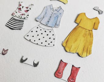 Outfit Sets for Magnetic Paper Dolls | Ready to Ship | watercolor portrait