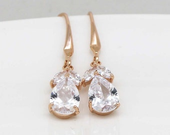 Rose gold Earrings, Bridal Wedding Jewelry, Zircon Drop Earrings, Crystal Jewelry, bridesmaids earrings, Prom earrings, Bridal earrings