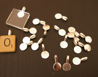 Wholesale - 250- Glue on medium large flat pad silver Bails for scrabble or glass tiles Lead free, Nickel Free