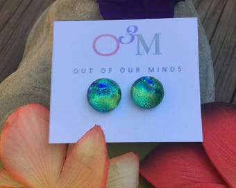 Limerick ~ Dichroic Stud Earrings in Emerald Green with Flashes of Gold and Blue