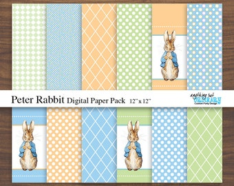 Peter Rabbit Digital Paper, Peter Rabbit Background Pages, Digital Scrapbook, INSTANT DOWNLOAD, digital printable file