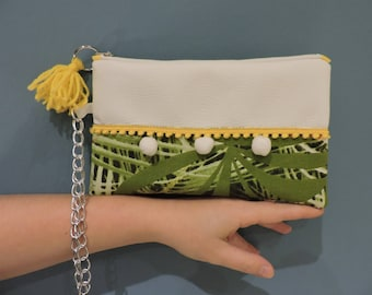 White faux leather with tropical foliage hand bag