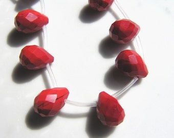 Coral Quartz 14x10 Faceted Briolette Beads  6