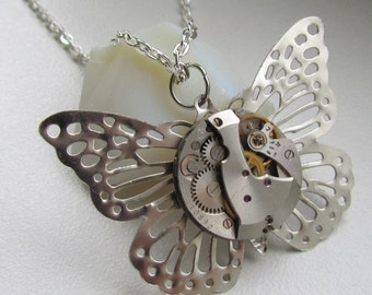 Steampunk necklace pendant vintage watch movement silver butterfly Birthday gift for Her statement Cosplay jewelry OOAK Handmade Gray