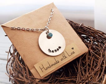 Hand Stamped Name and Birthstone Necklace, Mother's Necklace, Name Necklace, Gift for Mother, Grandma, Sister, Daughter, Personalised Name