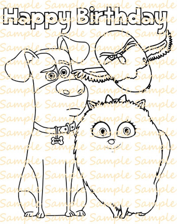 Secret Life of Pets Coloring Book Digital Coloring Pages