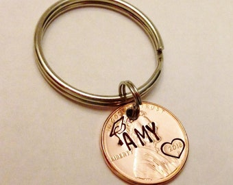 Custom Graduation Keychain: Class of 2018, Grad NAME or INITIALS, Personalized Graduate Gift, College High School Grad, Him Her, Lucky Penny