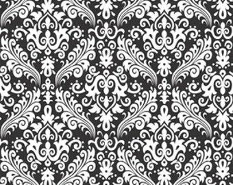 RBD, Medium Damask White on Black (C830 110)