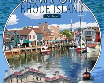 Newport, Rhode Island - Montage Scenes - Lantern Press Artwork (Art Print - Multiple Sizes Available)