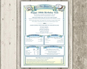 Personalised 100TH BIRTHDAY Gift 'Day You Were Born' History Certificate, Unique 100th Birthday Keepsake, Mum Dad Grandma Grandpa Nana Pa