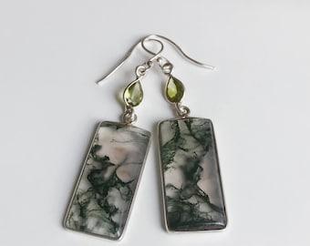 Moss Agate and Peridot 925 Sterling Silver Earrings, Beautiful, Authentic, Energy, Healing, Chakra, Boho
