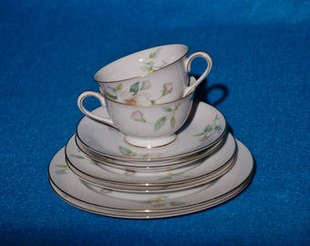 Apple Blossom by Sango China.  2 Sets of Salad Plate, Bread & Butter Plate, Cup and Saucer.
