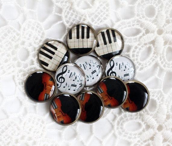 Music Print Buttons - HandMade Buttons - Custom Buttons