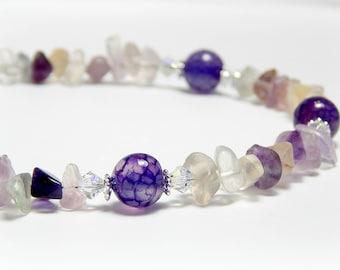 Fluorite Anklet, Purple Agate Anklet for Women, Ultra Violet Jewelry, Swarovski Crystal, Sterling Silver Anklet, Adjustable Anklet