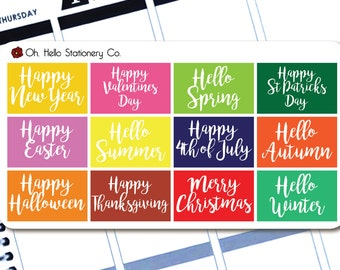 Holiday & Season Celebration Half Box Stickers - Planner Stickers for Erin Condren Life Planners - M1