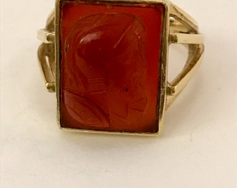 14k Gold Vintage Cameo Carnelian Ring