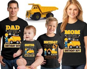 Construction Yellow Truck birthday Shirt/ Yellow dump truck shirt/truck Digger shirt/Personalized yellow truck birthday Boy Shirt/ CST12