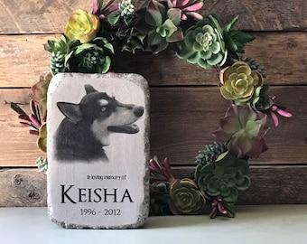 Custom pet grave marker, pet memorial, In Memory of, personalized memorial garden stone rustic decor mantle decor, Sympathy gift Loss of Pet
