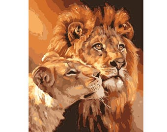 Two Lions DIY Paint by Number Kit Canvas + Paint + Brush Oil Painting Art Wall Decoration 40x50cm