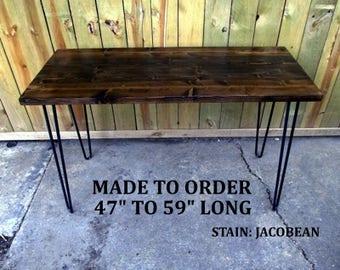 Computer desk, reclaimed wood, hairpin legs, hairpin legs desk, made to order, desk, table, rustic desk, minimalist