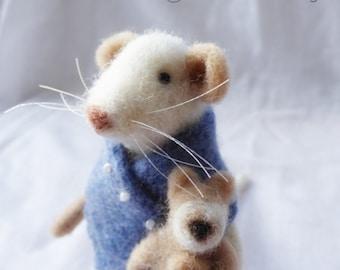 Needle Felted Animal , Mice , Gift ,  Nature Scene , home decor , Decoration , Waldorf Art