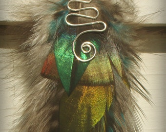 Gorgeous extra long single feather earring Unique Hand made  tribal pixie cruelty free feathers