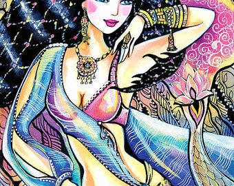 beautiful fantasy indian woman painting Indian wall decoration bollywood dancer Indian dancer art gift, poster woman wall print 8x10+